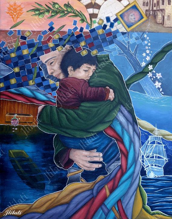 peinture de couleur à l'huile originale de Esam Jlilati